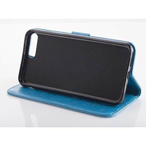 iPhone 7 Plus Custodia, iPhone 7 Plus Custodia Portafoglio, iPhone 7 Plus 5.5 Plus Custodia Pelle, JAWSEU Lusso Diamante 3D Modello Creativo Design PU Leather Wallet Flip Cover Custodia per iPhone 7 P Blu