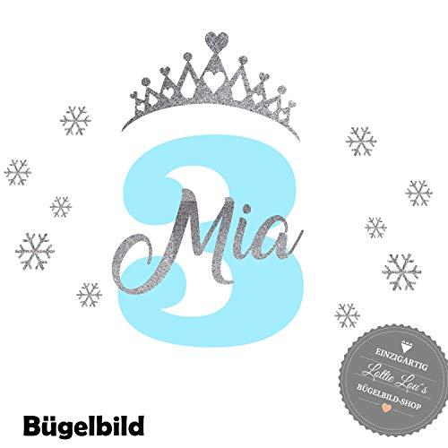 Bügelbild Aufbügler Geburtstag Eiskönigin Art Diadem Krone Schneeflocke Snowflake Zahl Name in Flex, Glitzer, Flock, Effekt in Wunschgröße