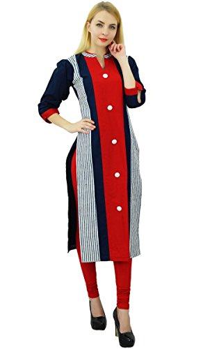 Phagun Bande Kurta Manches 3/4 Coton Design Ethnique Femmes Kurti Portent Des Vêtements Multicolore