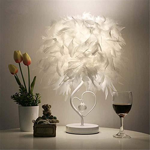 Plumes Lampes de chevet, Lampe de table en feather Table, Abat-jour élégant de plume et corps léger en métal, commutateur de bouton de support de E27, pour chambre à coucher Foyer Living Reading Salon