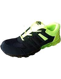 Aryans men green black running sports shoes