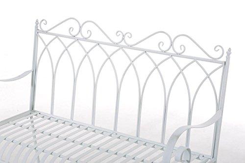 CLP Gartenbank DIVAN im Landhausstil, aus lackiertem Eisen, 106 x 51 cm – aus bis zu 6 Farben wählen Weiß - 4