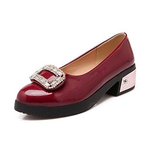 AllhqFashion Femme à Talon Bas Verni Couleur Unie Tire Rond Chaussures Légeres Rouge