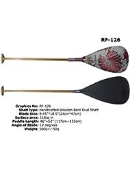 ZJ SPORT Paleta híbrida de canoa con diseño gráfico Hoja de carbón y eje curvado de madera(RF-126, 127CM)