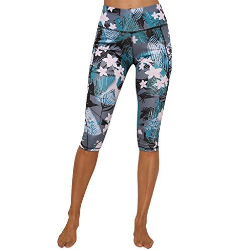 Dasongff Damen Capri Leggins, Leggings 3/4, Yoga Pants, Push Up/High Wasit, Skinny Yogahosen, Blumenmuster Skinny Pants, Laufhose Fitness Freizeit Sport Yoga Pilates - Knöchel Länge Leggins