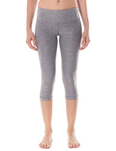 CRZ YOGA Femme Legging de Sprot Yoga Longueur 3/4 Poche de Clé Collant Running Gris chiné
