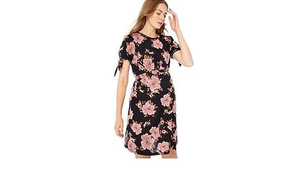 e109647f8eb39 Red Herring Maternity Black Floral Print Jersey Knee Length Maternity  Dress: Red Herring Maternity: Amazon.co.uk: Clothing