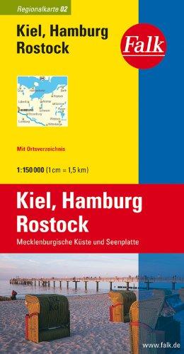 Falk Regionalkarte Kiel - Hamburg - Rostock 1:150 000 Mecklenburgische Küste und Seenplatte