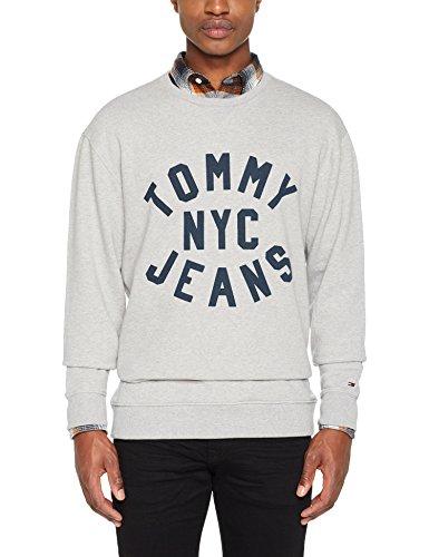 Tommy Jeans Herren Sweatshirt TJM Essential Graphic Crew, Grau (Lt Grey Htr 038), X-Large