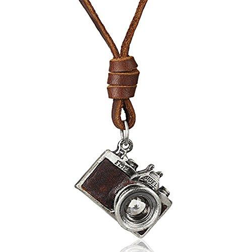 MESE London Collar de Cámara Fotográfica Colgante de Cuero Genuino Marrón 'El fotógrafo' en Caja de Regalo Elegante