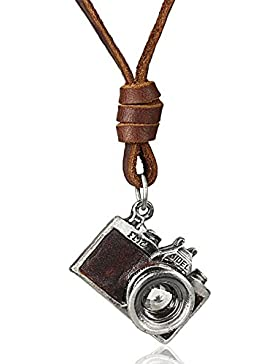 MESE London Foto Kamera Halskette Braun Echt Leder Kette Anhänger - Elegante Geschenkbox
