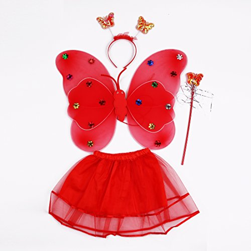 Fairy Costume Fancy Dressing up set for 3-8 years girls Comprising Butterfly Wings Wand Headband and Tutu Ideal Dressing up (Red)