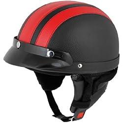 Rojo Cuero Sintético Negro Recubiertas Motocicleta Tapa Casco Medio Abierto Recogedor Visor