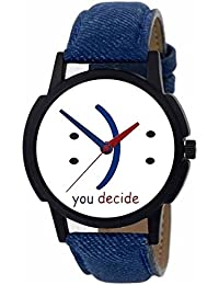 ISmart Analogue Round Dial Faux Leather Strap Casual Men's Watch
