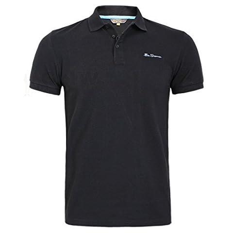 BEN SHERMAN HOMME Signature Logo Polo T-shirt noir ,gris ,Marine S, M, L, XL,XXL - Noir, X-Large