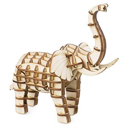 JXJ 3D Rompecabezas de Madera-Bricolaje Hecho a Mano Animales Paquete Elefante Modelo...