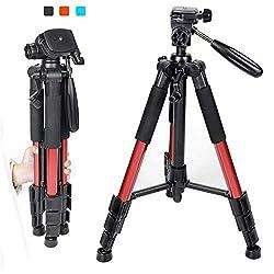 Trípode Compacto para cámara,AZX, Tripode Camara Reflex con Cabezal panorámico de 360 Grados,Plegable Portátil Trípode de cámara SLR Digital Sony Nikon de Canon,Color Rojo