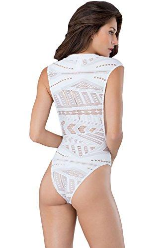 Preisvergleich Produktbild Neue Damen weiß TinkSky offenem Arm Muster Teddy Monokini Gymnastikanzug Dessous Unterwäsche Body Größe 8EU 36