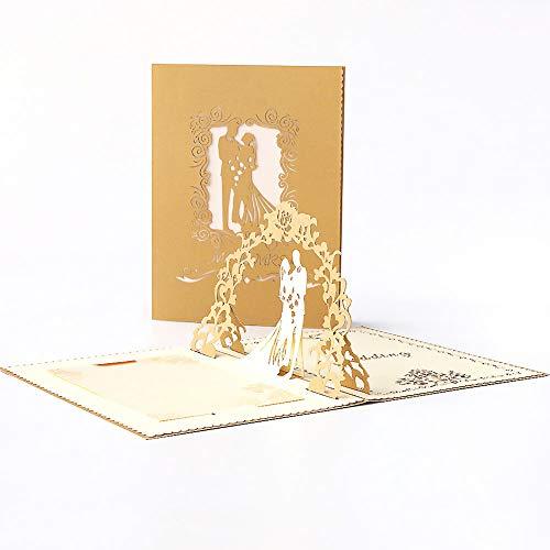 JZTRADING Hochzeits Einladung Karten Dekoration Valentinsgruß-Liebhaber 3D Pop Up Grußkarten Romantische Geburtstagsgeschenke Schicke Hohle handgemachte Postkarte (Gold)