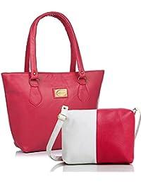 mammon Women's Handbag And Sling Bag Combo (Hs-Combo-Pink, 40X30X10 Cm)