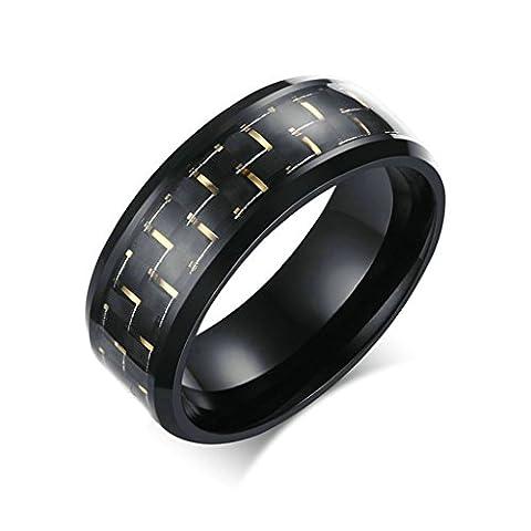 AmDxD Schmuck Herren Ringe 8MM Edelstahl (mit Gratis Gravur) Carbon-Faser Ehering Gelb Schwarz Größe 54 (17.2)