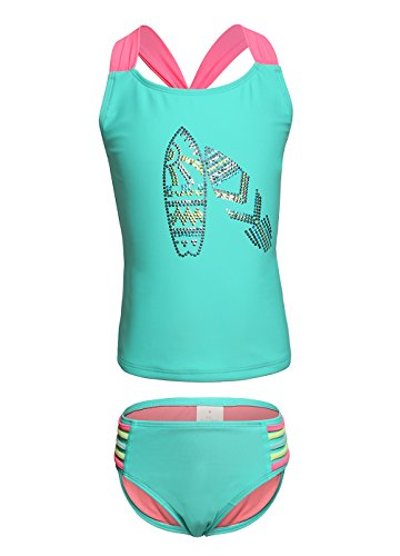 Badeanzug Mädchen Bademode Zweiteiliger Tankini Two Piece Bademode Baby Bikini Set Blau in XL (Two Tankini Piece Swimsuit)