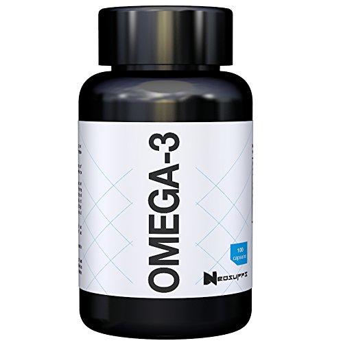 Omega 3 Kapseln hochdosiert | Gesunde Fisch-Öl Kapseln aus essentiellen Fettsäuren und Lebertran ohne fischigen Nachgeschmack, gut verträglich und reich an EPA & DHA | Neosupps Omega-3 – 100 Caps