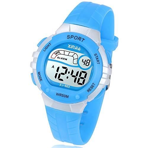 REN deal Kinder Digitaluhr,Jungen Mädchen Sport 50M(5ATM) Wasserdichte LED Multifunktions Armbanduhr für Kinder mit Alarm(Blau)
