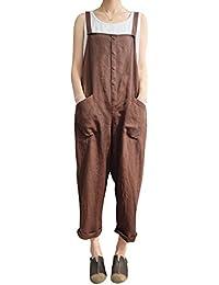 1ceb843f46262 DianShaoA Mujer Vintage Casual Pantalones De Lino Respirable Talla Grande Peto  Mono Pantalones Largo