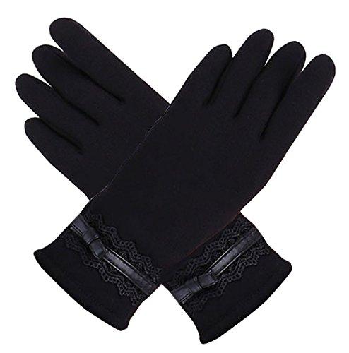 Guanti donna,kapmore guanti touch screen donna invernale guanti in pile foderato guanti bici nero