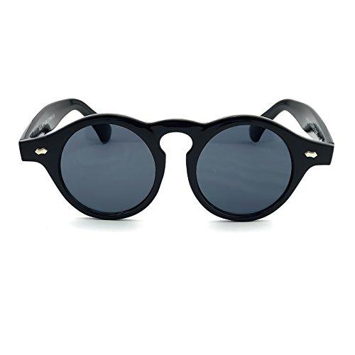 Kiss Sonnenbrille stil MOSCOT mod. THICK Steampunk - Johnny Depp mann frau RUNDE vintage unisex - SCHWARZ