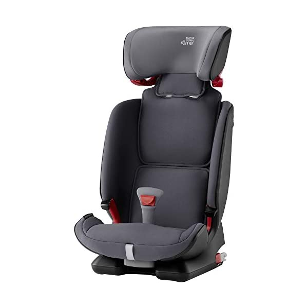 Britax Römer ADVANSAFIX IV M Group 1-2-3 (9-36KG) Car Seat- Storm Grey Britax Römer Our patented pivot link isofix system directs the force first downward into the vehicle seat, and then forward more gently - greatly reducing the risk of head and neck injury for your child We believe that a 5-point harness is the safest way to secure your child in a car seat because it keeps your child safe and tight in the seat's protective shell Soft neoprene performance chest pads fit comfortably on your child's chest. They help reduce your child's movement in the event of a collision, and add even greater comfort to the 5-point harness 3