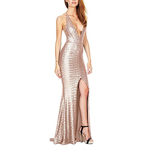 Damen Abendkleid Open Gabel Halfter Strap Nacht Shop Sequins Kleid Lange Rock Deep V-Neck Kleid , gold , m