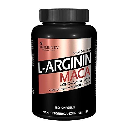 BIOMENTA L-ARGININ + MACA HOCHDOSIERT | JETZT NEU: 180 L-Arginin-Maca-Kapseln | 2.000 mg Arginin + 4.000 mg Maca + OPC-Traubenkernextrakt + Zink + Avena Sativa + Spirulina Algen pro Tag | Für aktive Frauen & Männer