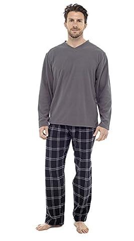 Herren 2STÜCK Luxus voller Länge Pyjama Set Warm Winter Thermo-/Jersey-Top Luxus Flanell Lounge Hose Gents Jungen Pyjama Pj