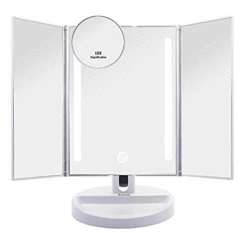 Auxmir Kosmetikspiegel mit LED Licht und 10X-Vergrößerungsspiegel,