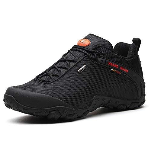 XIANG GUAN Outdoor Scarpe da Escursionismo Impermeabili Basso-Top Sportive Scarpe Running Calzature Uomo 81283 Nero EU 44