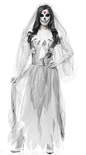 Duuozy Frauen Halloween Geisterbraut Zombie Kostüm Zombie Kostüm Maskerade Cosplay Vampir Teufel M, L, XL,White,L