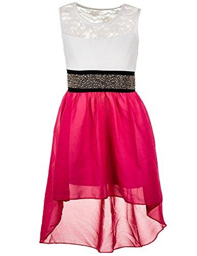 (Fashionteam24 Festliches Sommerkleid in vielen Farben M361npi Neon Pink Gr. 2/86/92)