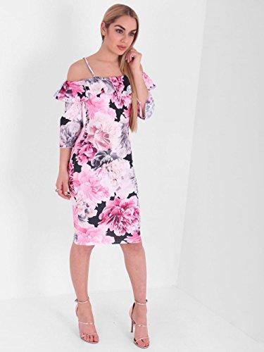Damen Blumen Rose Print Frill Bardot Midi Kleid EUR Größe 36-44 Weißes Rosa Blumen