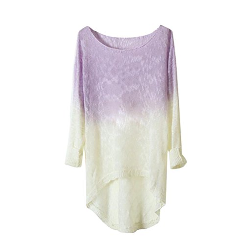 YouPue Femmes Couleur Gradient Pull Col Rond Sweater Manches Longues Manches Longues Pull Col Rond Sweater Violet Clair