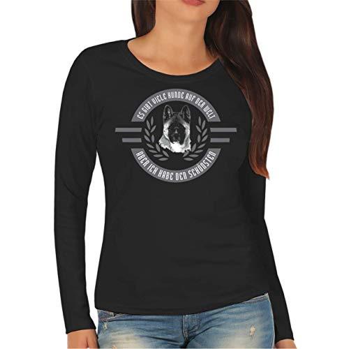 Akita-damen T-shirt (Frauen und Damen Langarm Shirt Ich Habe den schönsten - American Akita Größe XS - XXL)