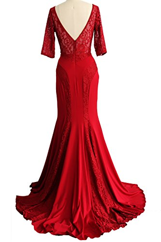 MACloth Women Mermaid Half Sleeve Lace Mother of Bride Dress Formal Evening Gown Ivoire