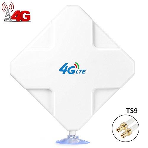 TS9 4G Antenna, 35dBi GSM High Gain 3G / 4G LTE Antenne Wifi signal Booster Amplificateur Adaptateur Réseau Réception Antenne longue portée avec Câble pour point d'accès mobile (Connecteur TS9)