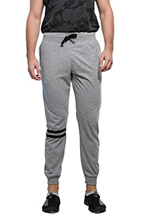 Alan Jones Clothing Men's Cotton Solid Track Pant (Melange, Small)