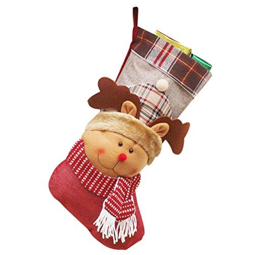 Yilianda calza di natale con decorazione 3d a forma di testa di babbo natale calzini di natale