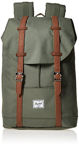 Herschel Supply Co. Retreat mid-volume Rucksack, Deep Lichen Green/Tan Synthetic Leather (grün) - 10329-00923-OS Deep Lichen Green/Tan Synthetic Leather