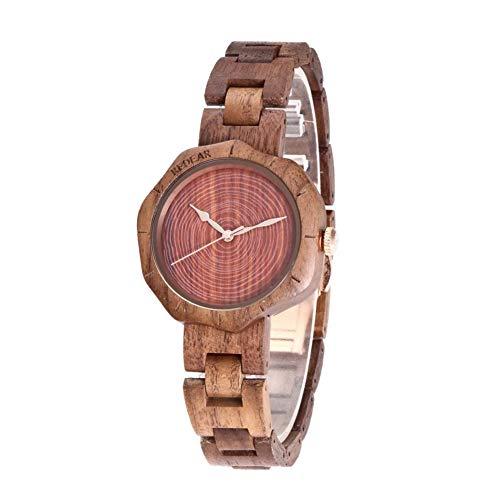 XuBa Damen-Armbanduhr, modisch, Schlichtes Quarzuhrwerk, Holz-Uhrwerk, Ornament Walnut Set