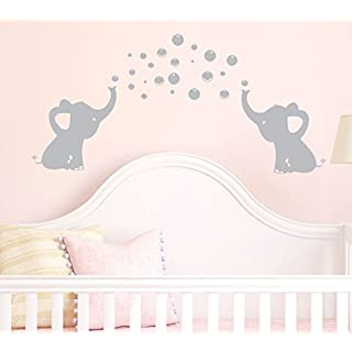 YouYou Elephants Bubbles Wall Decal Vinyl Wall Sticker Wall Art Baby Nursery Wall Decor, Grey