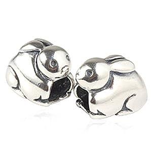 Ciondolo a forma di coniglietto pasquale in argento Sterling 925, ciondolo a forma di animale, compatibile con braccialetti e gioielli di marca